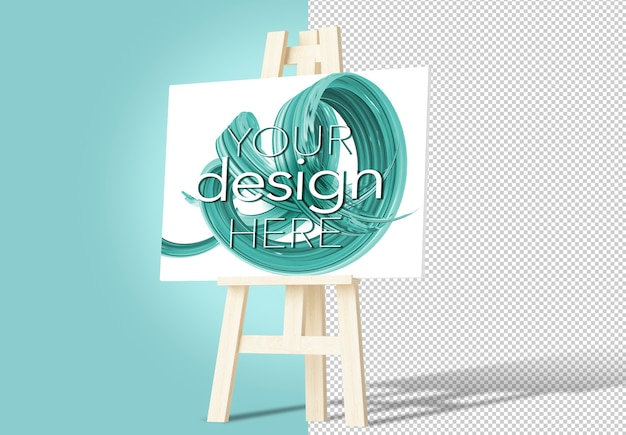 Canvas on easel mockup isolated