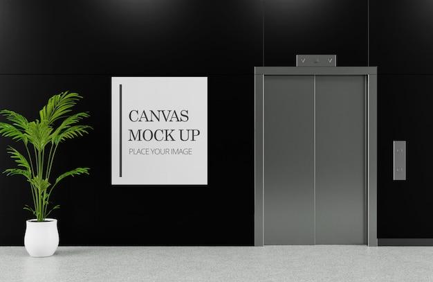 Canvas frame mockup beside elevator