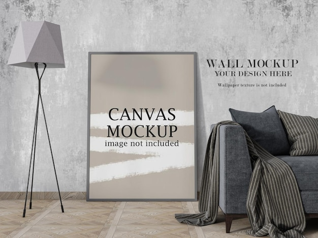 Canvas frame mockup beside floor lamp