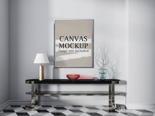 Canvas frame mockup above console table