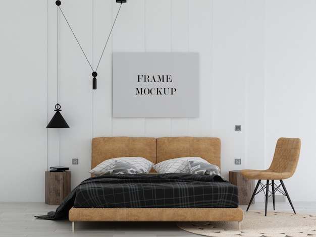 Canvas frame in modern bedroom with leather bed