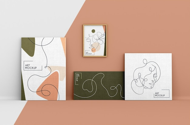 Canvas mock-up with organic shapes and frame
