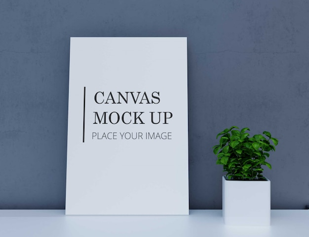 Canvas mock up with plant