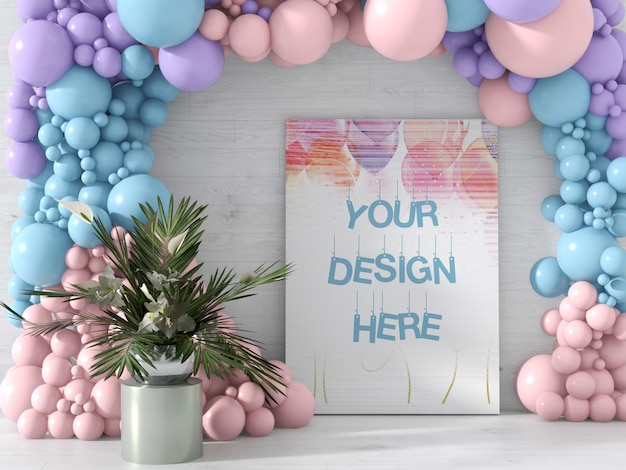 Canvas mockup decorated with different color balloons