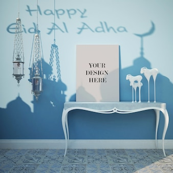 Canvas mockup for eid festival with decorative lamps in arabic style interior