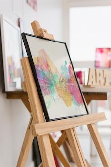 Canvas mockup in art studio