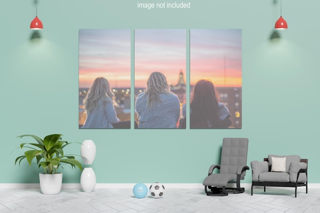 Canvas mockup leaning on the wall Premium Psd