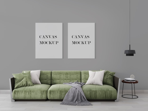 Canvas mockup above modern green armchair in 3d visualization