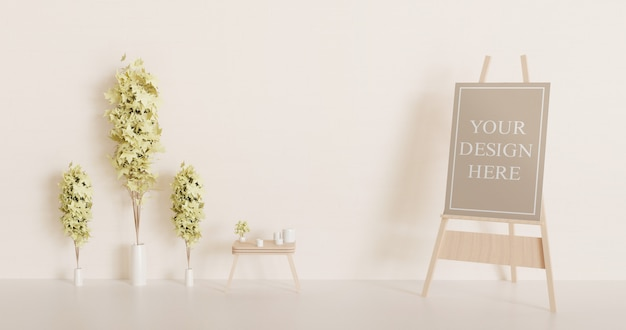 Холст макет на мольберте с декоративными растениями