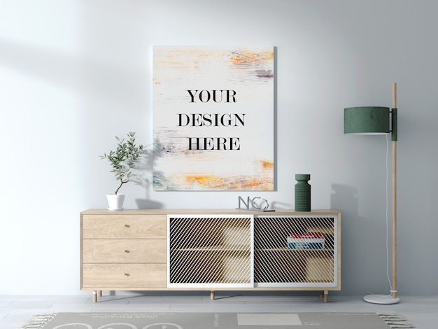 Canvas mockup on white interior wall with sideboard