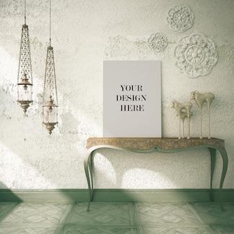 アラビア風のインテリアの装飾的なランプが付いているキャンバスのモックアップ
