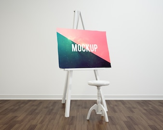 Canvas on white stand mock up