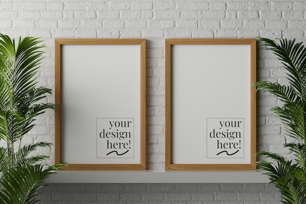 Canvas paper posters in wooden frame mockup