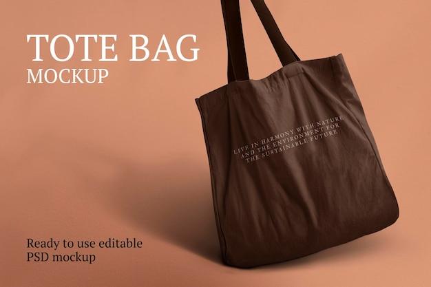 Холщовая сумка-тоут, макет, psd, экологически чистый продукт