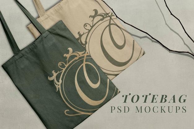 Холщовая сумка-тоут, psd макет в роскошном стиле