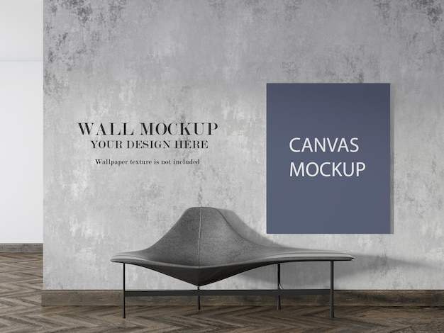 Canvas and wall mockup in 3d rendering