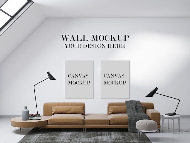 Полотна и макет стены в современной гостиной