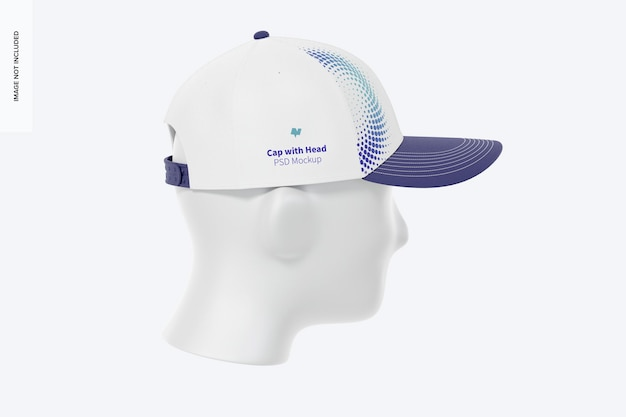 Cap with head mockup, left view