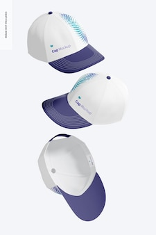 Caps mockup, falling