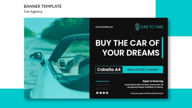 Car agency ad banner template