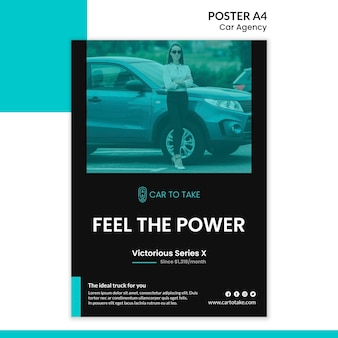 Car agency ad poster template
