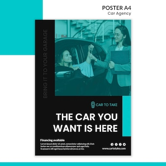 Car agency poster template