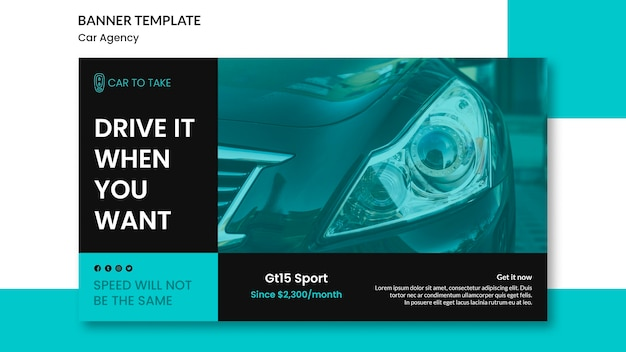 Car agency promo banner template