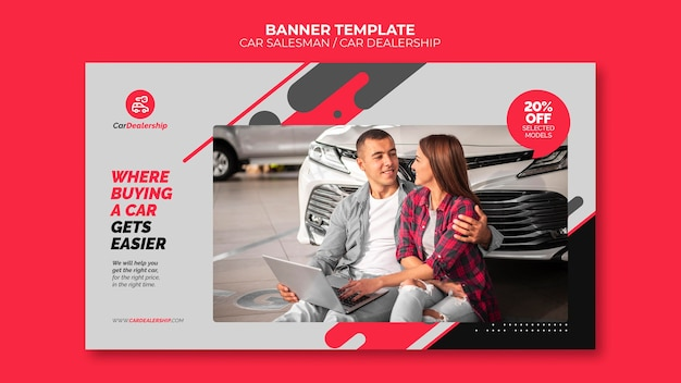 Car dealership banner template with photo