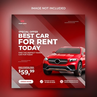 Car rental sell promotion social media instagram post in red abstract shape background template