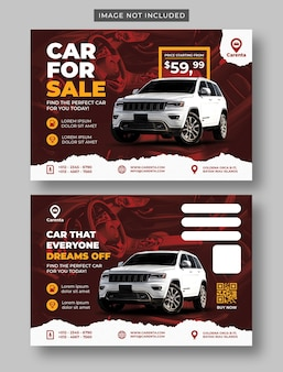 Car sale promotion for postcard template