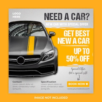 Шаблон сообщения квадратный баннер продвижение продажи автомобилей