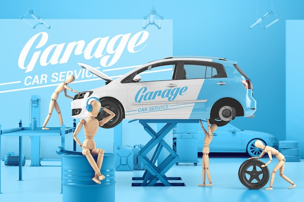Car service with wooden men mockup