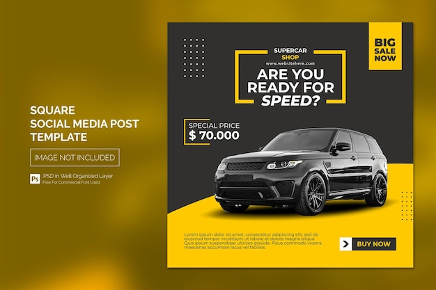 Автомобиль в социальных сетях instagram post или square web banner advertising template