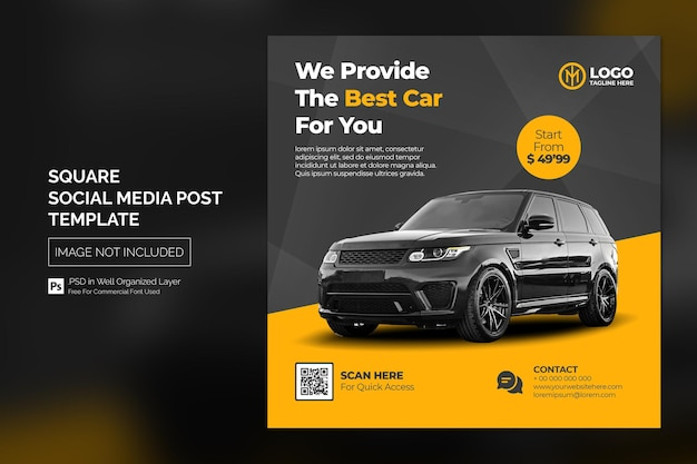 Car social media instagram post or square web banner advertising template
