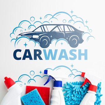 Car wash background with cleaning tools