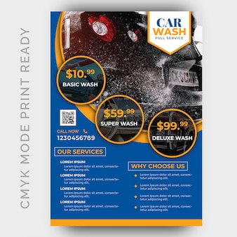 Car wash business flyer design template
