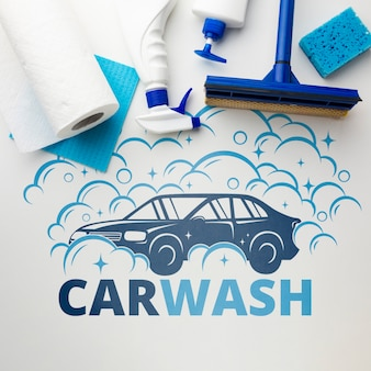 Car wash concept with cleaning tools