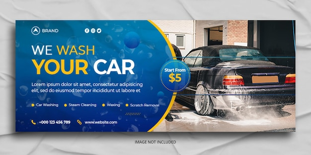 Car wash facebook cover and web banner template