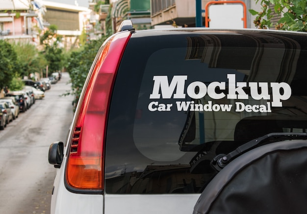 Car window decal mockup