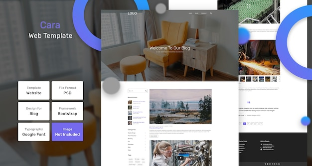 Шаблон веб-страницы блога cara