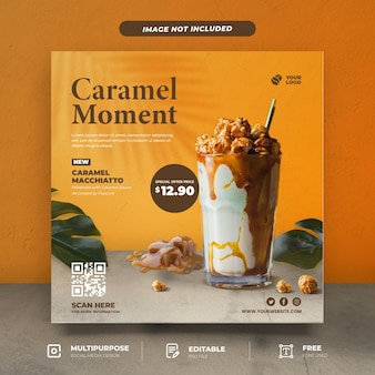 카라멜 밀크 쉐이크 메뉴 소셜 미디어 템플릿