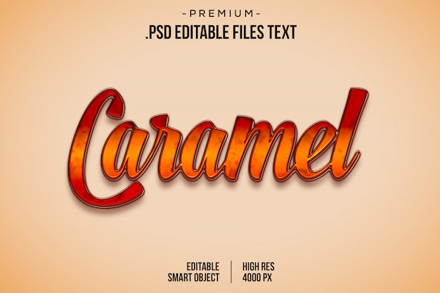 Caramel sweets text style effect, hand drawn lettering card, modern brush calligraphy, set elegant red yellow abstract sweets text effect