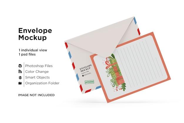 Макет карты и конверта с рождественской концепцией