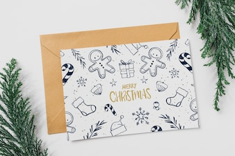 Card and envelope mockup with christmas concept