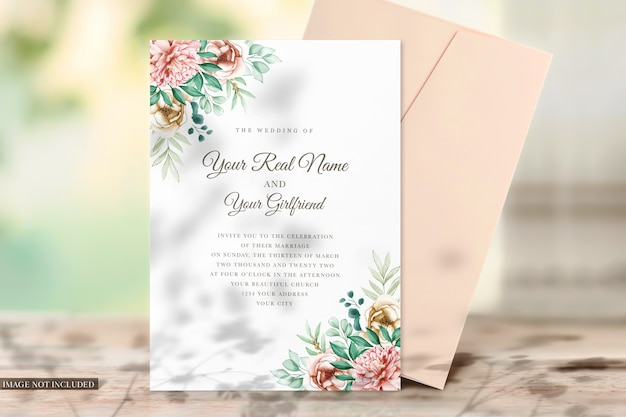 Card and envelope mockup for invitations