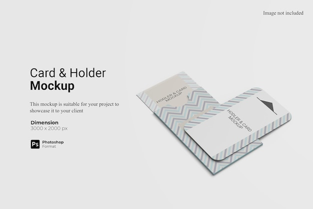 Card and holder mockup design isolated