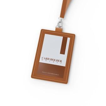 갈색 가죽 디자인의 id 카드 용 카드 홀더 모형