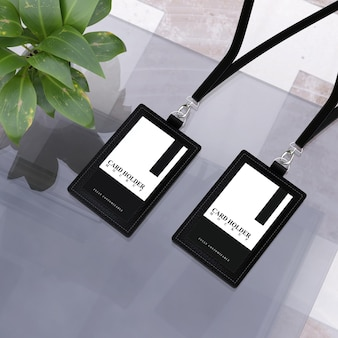 Card holder mockup for id card in black leather design