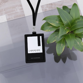 Card holder mockup for id cards using realistic skins