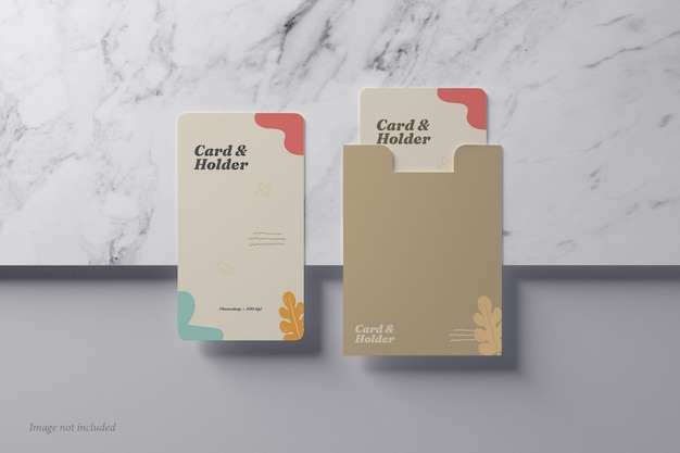 Card and holder mockup on a marble stone top view